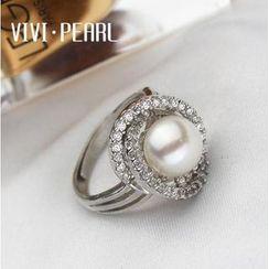 ViVi Pearl - Freshwater Pearl Rhinestone Sterling Silver Ring