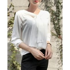 UPTOWNHOLIC - Tie-Front Blouse