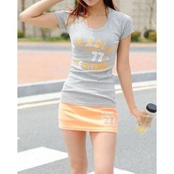 SARADA - Set: Lettering T-Shirt + Inset Shorts Mini Skirt