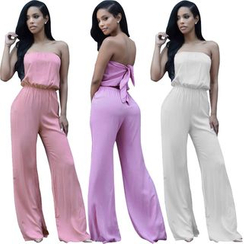 Hotprint - Strapless Boot-cut Jumpsuit