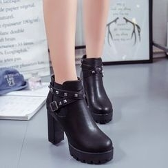 Yoflap - Studded Buckled Block Heel Ankle Boots