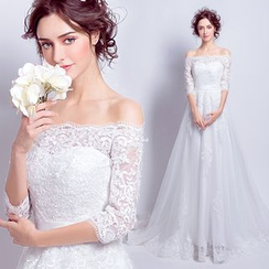Angel Bridal - Off-Shoulder Lace Evening Gown
