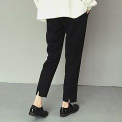 Glen Glam - Slit Cuff Dress Pants