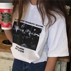 Miss Kekeli - Printed Elbow Sleeve T-Shirt
