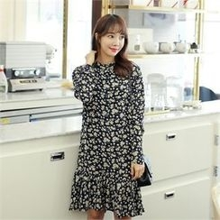 clicknme - Floral-Pattern Chiffon Dress