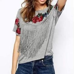 Chicsense - Short-Sleeve Fringed T-Shirt