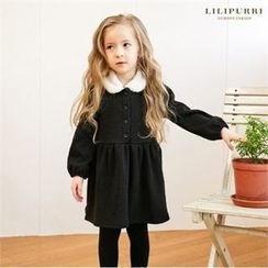 LILIPURRI - Girls Fleece-Collar Buttoned Dress