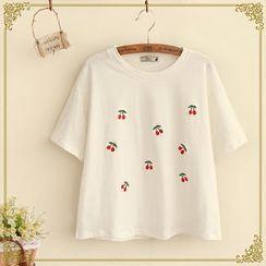 Fairyland - Cherry Embroidered Short-Sleeve T-Shirt