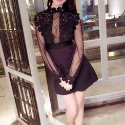 Silkfold - Long-Sleeve Lace Panel Party Dress