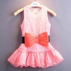 Kidora - 小童蝴蝶结蕾丝连衣裙