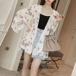 AININI - Floral Print Bell-Sleeve Light Jacket