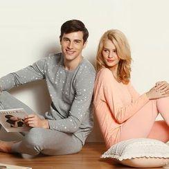 Hodohome - Couple Matching Set: Star Print Long-Sleeve T-Shirt + Leggings