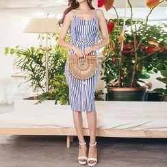 Aurora - Spaghetti Strap Striped Sheath Dress