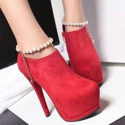 Anran - Faux Pearl Ankle Strap Stiletto Platform Ankle Boots
