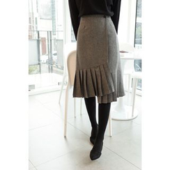 CHERRYKOKO - Pleat-Hem Herringbone Wool Blend Wrap Skirt