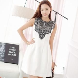 St. Mary - Lace-Bib Sleeveless A-Line Dress