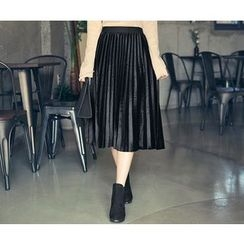 HOTPING - Band-Waist Pleated Skirt