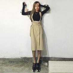 Queen Bee - Belted Midi Suspender Skirt