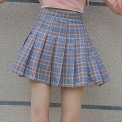 Cloud Nine - Plaid Pleated Skirt