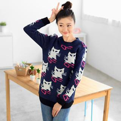 59 Seconds - Cat Print Long Sweater
