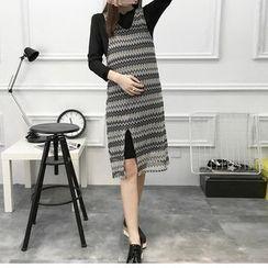 Soswift - Maternity Set: Plain Long-Sleeve Dress + Slit Cover-Up Dress
