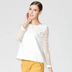 O.SA - Appliqué-Flower Crochet-Sleeve Top