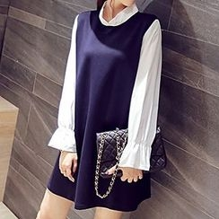 Sugar Town - Long-Sleeve Chiffon Dress