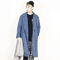 Remember Click - Wool-Blend Check-Pattern Long Coat