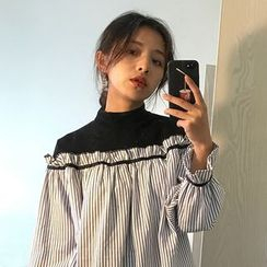 monroll - 条纹假两件衬衫