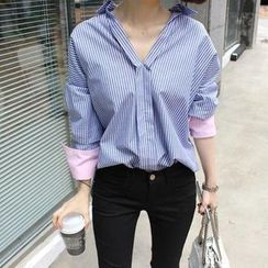 trendedge - Split-Neck Contrast Cuff Striped Shirt