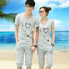 GASVR - Couple Matching Set: Short-Sleeve Print T-Shirt + Capri Sweatpants