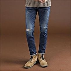THE COVER - Cut-Off Detailed Fleece-Lined Jeans