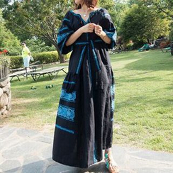 trendedge - Embroidered Split Neck Elbow Sleeve Maxi Dress
