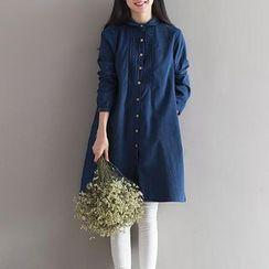Snow Flower - Pintuck Corduroy Shirtdress