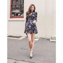 GUMZZI - Cutout-Front Floral Print Dress