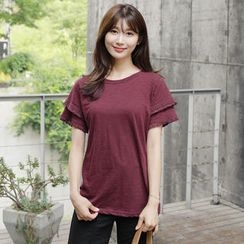 CLICK - Tasseled Layer-Sleeve Mélange T-Shirt