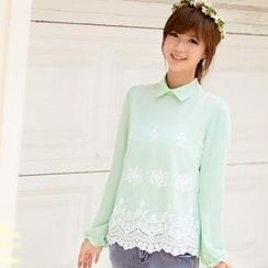 11.STREET - Embroidered Tulle Overlay Blouse