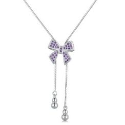 MBLife.com - 925 Sterling Silver Sweet Bow with Purple CZ Dangle Necklace (16')