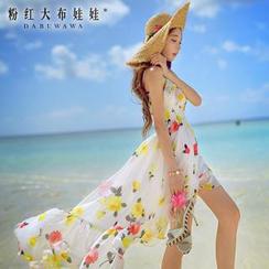 粉红大布娃娃 - 印花前短后长吊带沙滩裙