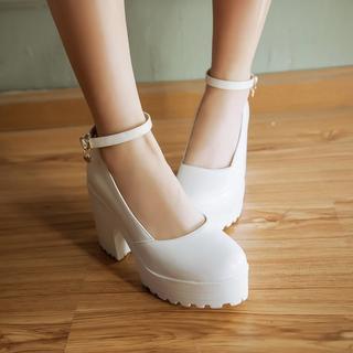 Pangmama - Ankle-Strap Platform Chunky-Heel Pumps