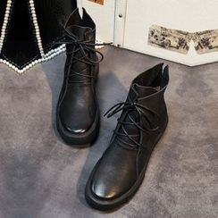 QQ Trend - Faux Leather Lace Up Ankle Boots