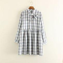 Mushi - Plaid Tie Neck Long Sleeve Dress