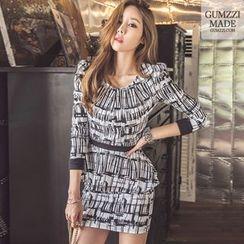 GUMZZI - Set: Patterned Peplum Top + Mini Pencil Skirt