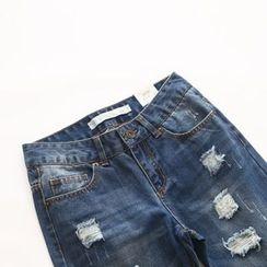 Bonbon - Distressed Straight Fit Jeans