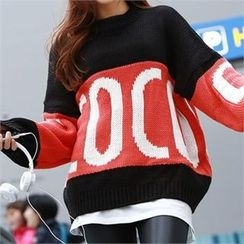 PEPER - Color-Block Lettering Knit-Top