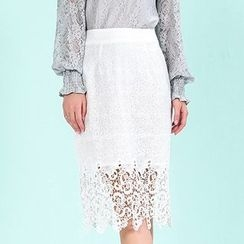 Strawberry Flower - Lace Panel Skirt