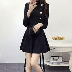 Lavogo - Buttoned Faux Suede A-Line Dress