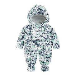 MOM Kiss - Baby Print Hooded Padded One Piece