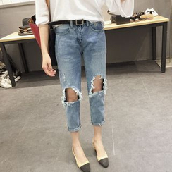 Windflower - Washed Distressed Cropped Jeans