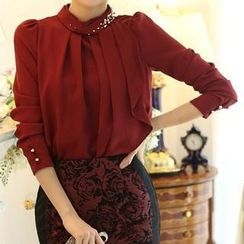 Ranee - Beaded Pleated Chiffon Blouse